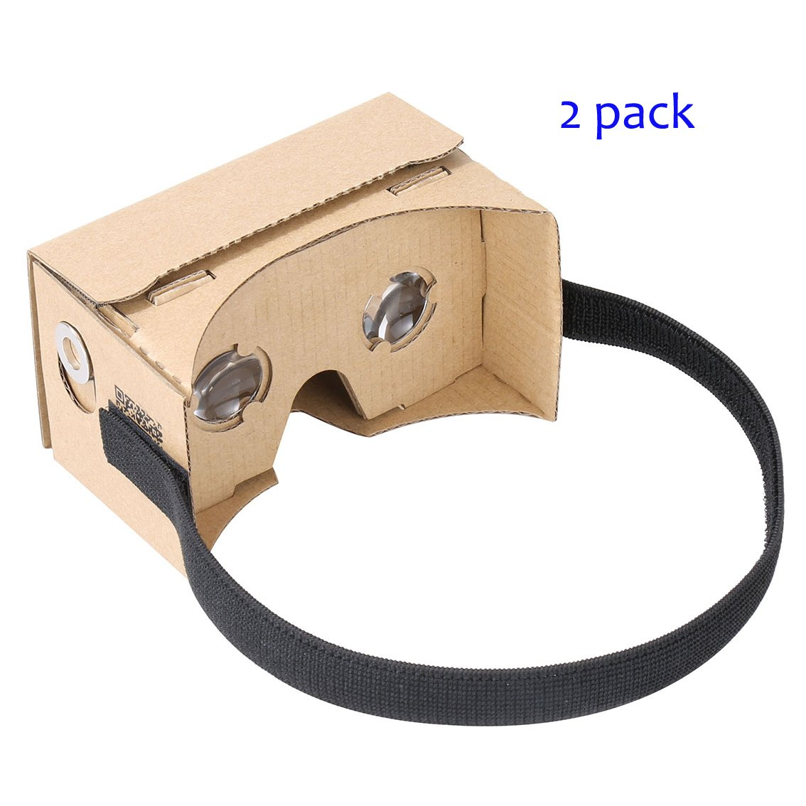 Google Cardboard by IHUAQI 2 Pack with Headstrap Unibody Design with Instructions Pre-Assembled Fit for 3.5 inch to 6 inch Compatible with Android and iPhone