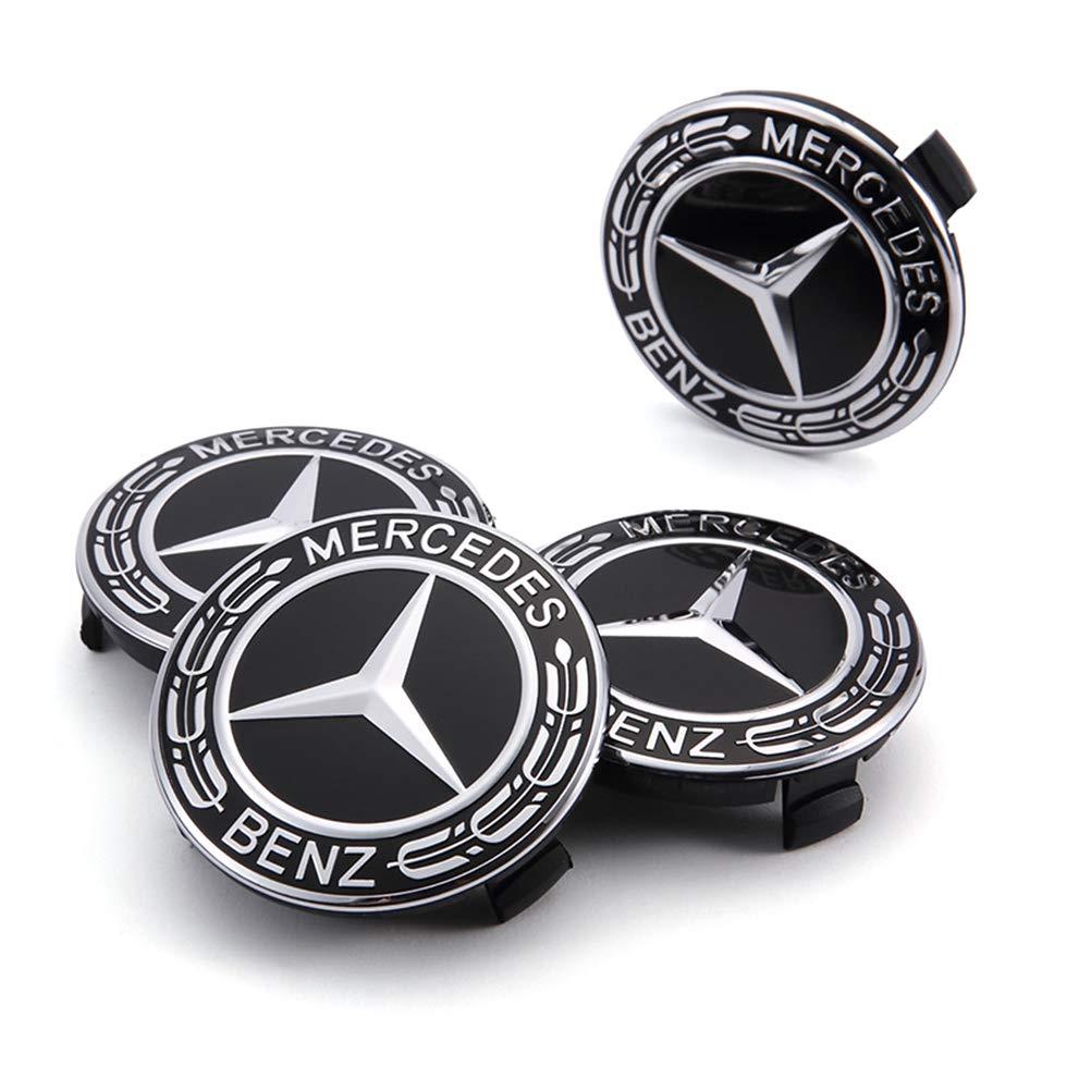 Hihey 4 Piezas Rueda de Coche Tapas centrales Cubiertas Insignia del Logotipo del Coche para Mercedes Benz