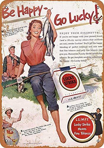 Joycenie Tin Sign New Aluminum Metal Sign 1951 Lucky Strike Cigarettes  Fishing 8x12 Inch
