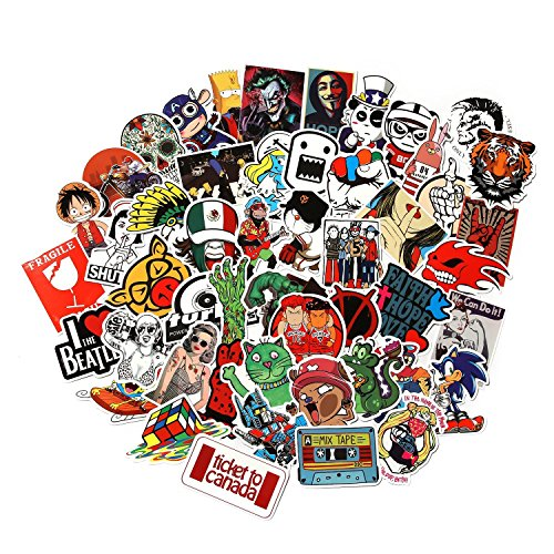 CHNLML Love Sticker Pack 100-Pcs,Cool Sticker Decals Vinyls for Laptop,Kids,Cars,Motorcycle,Bicycle,Skateboard Luggage,Bumper Stickers Hippie Decals bomb Waterproof(Not Random) (D) (Hippie Rock)