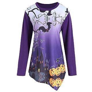 Donna Halloween Pumpkin Devil Manica lunga Top camicetta camicia Elegante Felpa-Arredamento Camicie Orlo Irregolare Cime -Casuale Sottile Sportiva Camicetta -Allentato Pullover