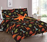 WPM Dinosaur Brown print bedding set choose from Full/Twin comforter or bed sheets or window curtains panels for kids/girls/boys room (Twin Comforter Set)