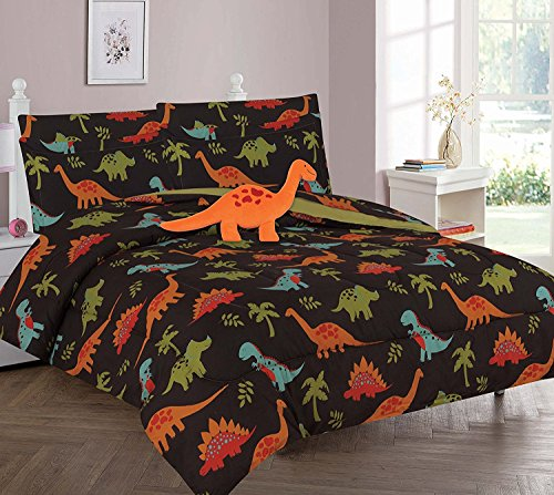 Bedding Set Print (WPM Dinosaur Brown print bedding set choose from Full/Twin comforter or bed sheets or window curtains panels for kids/girls/boys room (Full Comforter set))