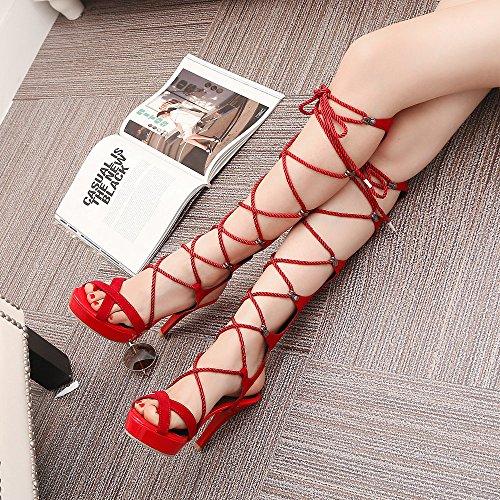 mujer AnMengXinLing sandalias Para de Rojo vestir If68vqw