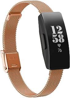 FJmax élégant Acier Inoxydable Engrener Remplacement Bande De Montre + Protecteur D'écran Film pour Fitbit Inspire/Inspire HR