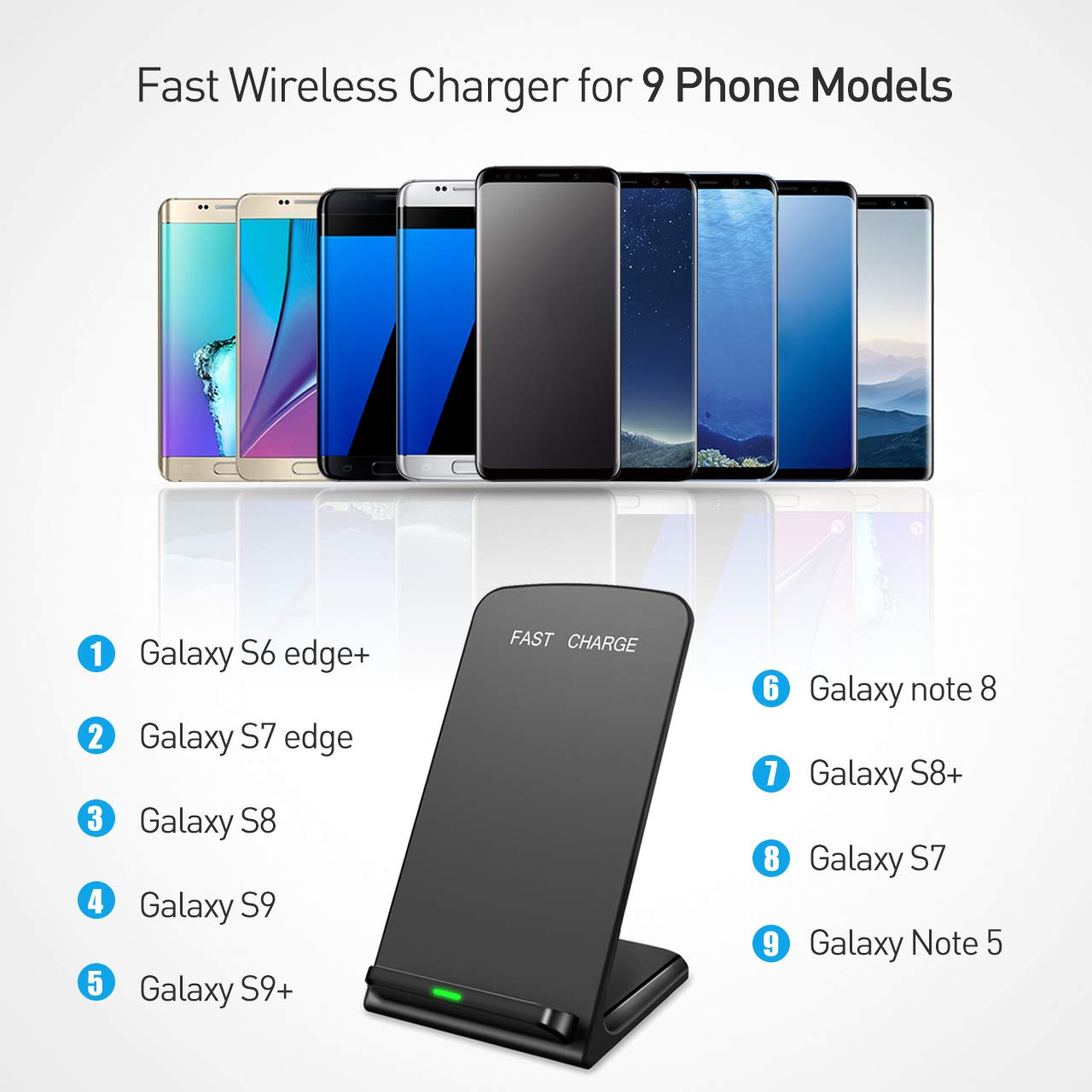 Seneo (Upgraded) Wireless Charger, Qi Certified Fast Wireless Charger Stand with QC 3.0 Adapter for Galaxy S9/S9+ Note 8/5 S8/S8+ S7/S7 Edge S6 Edge+, Standard Qi Charger for iPhoneX/8/8 Plus by Seneo (Image #4)
