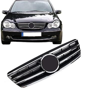 Rejilla delantera para parrilla de coche para Benz W203 Clase C SL C230 C320 C240 cromado para parachoques de 2001 – 2007 por MOTORFANSCLUB