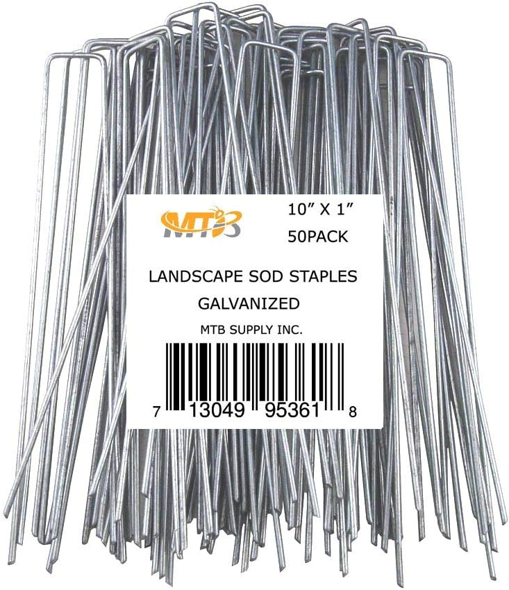MTB 50 Pack 10x1 inch 11GA(0.12inch) Sod Staples Garden Pins Netting Stakes Ground Spikes Landscape Cover Pegs Anti-Rust Galvanized