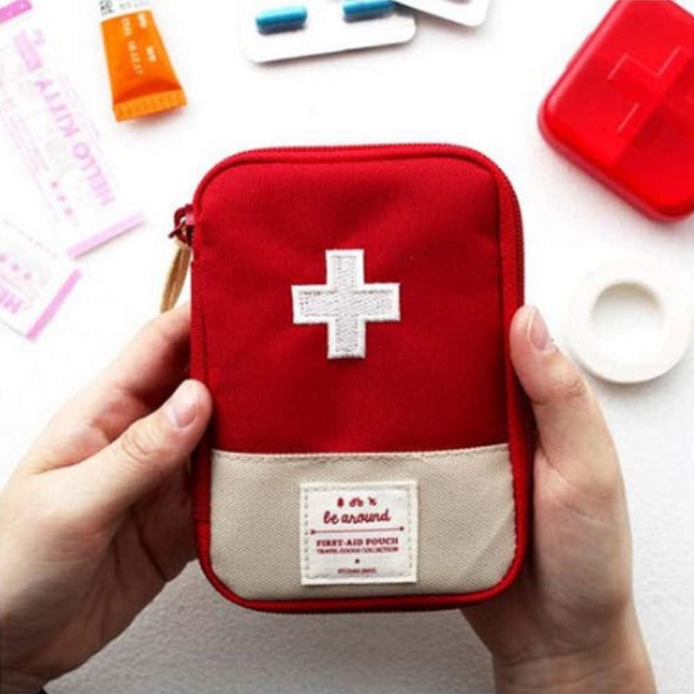 Botiquín de primeros auxilios médicos, pequeño kit de primeros auxilios – bolsa de rescate adecuada para viajes, hogar, oficina, vehículo, camping, lugar de trabajo y exterior (rojo) – 18 x 13 cm