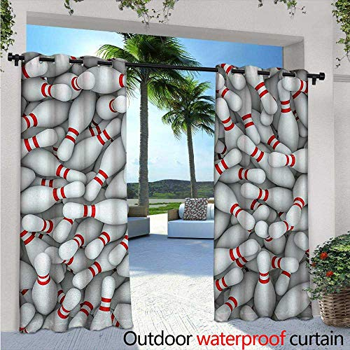 BlountDecor Bowling Party Patio Curtains W84 x L108 Pile of Vivid Bowling Pins and Skittles with Red Stripes 3D Style Print Outdoor Curtain for Patio,Outdoor Patio Curtains Red and White