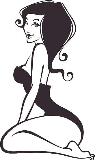 Amazon Com Hot Sexy Curvy Black And White Girl Posing Cartoon Vinyl