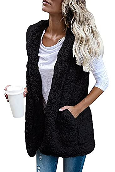 4764eec98b Smibra Womens Cashmere Solid Sleeveless Front Open Hoodie Cardigan Loose  Blouse Top Black Small