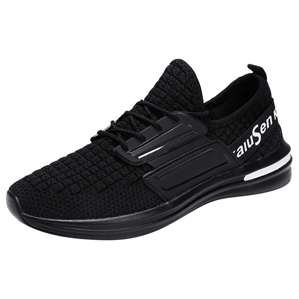 Street Sneakers Men Work Sneakers ✔ Men's Wild Lightweight Running Shoes Fashion Woven Breathable Sneakers Shoes Black