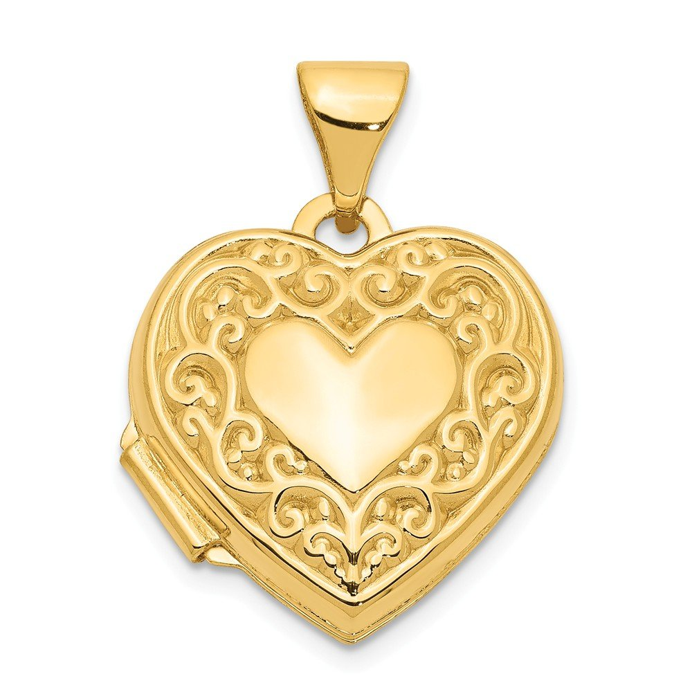 14k Yellow Gold Scroll Heart Photo Pendant Charm Locket Chain Necklace That Holds Pictures Fine Jewelry Gifts For Women For Her by ICE CARATS