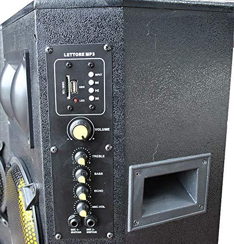IMPIANTO AUDIO KARAOKE pronto alluso 2 CASSE AMPLIFICATE BLUETOOTH 600W 8 alzata ridotta CAVO PC 2 STATIVI 2 MICROFONI CON FILO