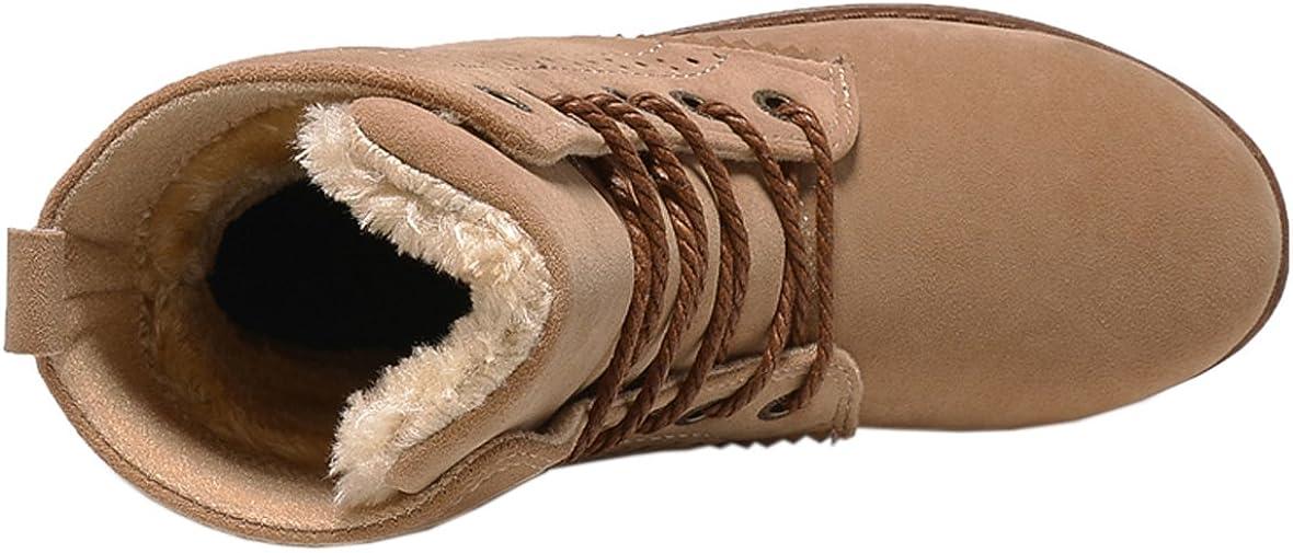 Gaatpot Damen Schnür Stiefeletten Warm gefütterte Combat Boots Leder Winter Stiefel Schuhe 35 44