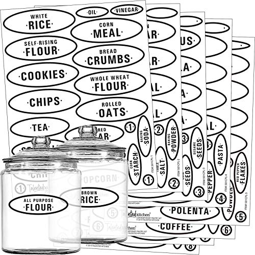 Pantry Labels - 164 Contemporary Preprinted Kitchen Label Set by Talented Kitchen. Clear Water Resistant Stickers, Food & Spice Jar Labels for Pantry Organization & Storage (Set of 164 - Contemporary)