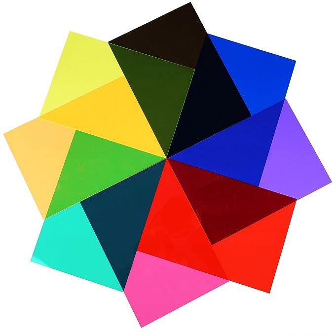 9 St/ück Gelfilter Transparente Farbfolie Kunststoff Folien Korrektur Gel Licht Filter 29,5 x 21 cm 9 Farben