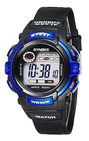 Reloj de Pulsera para Niños Redondo Reloj Digital con Funciones de Cronómetro Cronógrafo Alarma y Pantalla Luminosa - Azul: Amazon.es: Deportes y aire libre