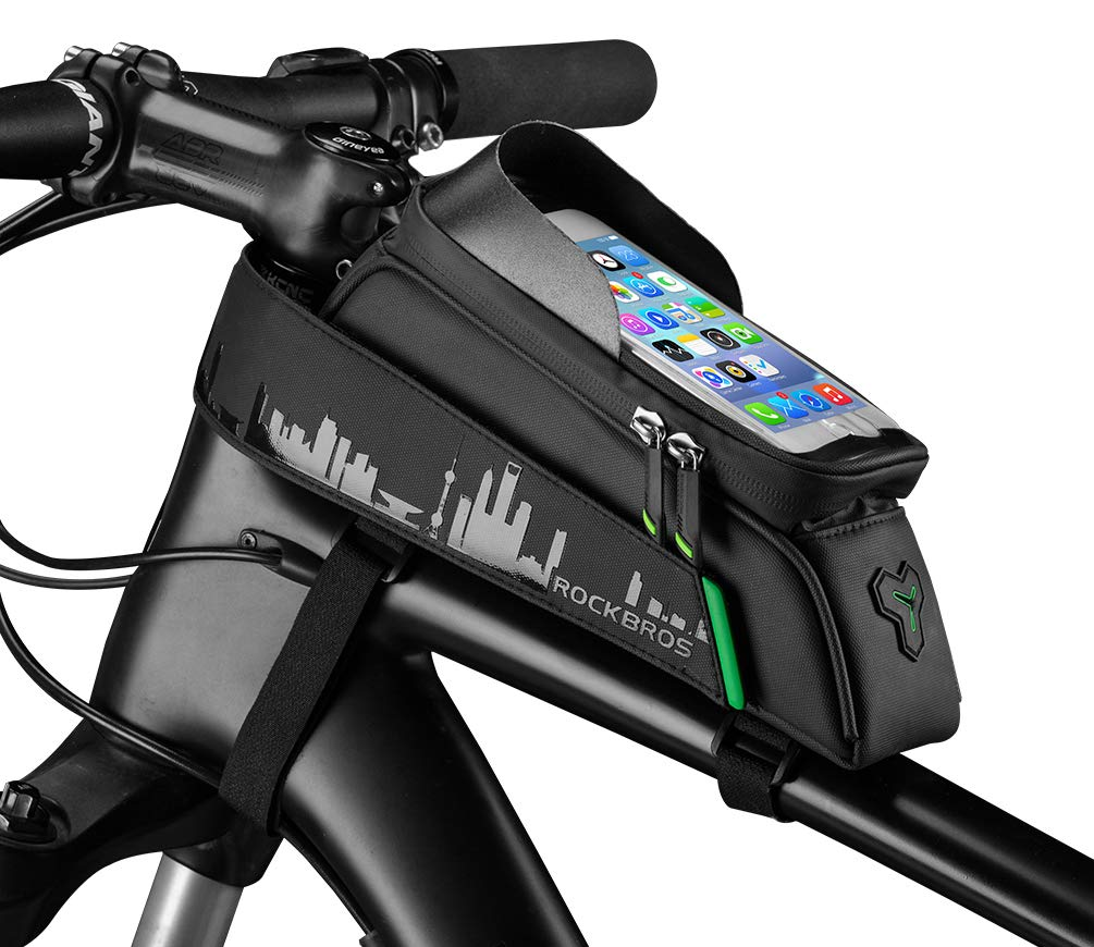 ROCK BROS Bike Phone Bag Bicycle Top Tube Phone Bag Fingerprint ID Phone Pouch Compatible with iPhone X XS 6 7 8 Plus for Road Mountain Bike 5.8 in (with Rain Cover)