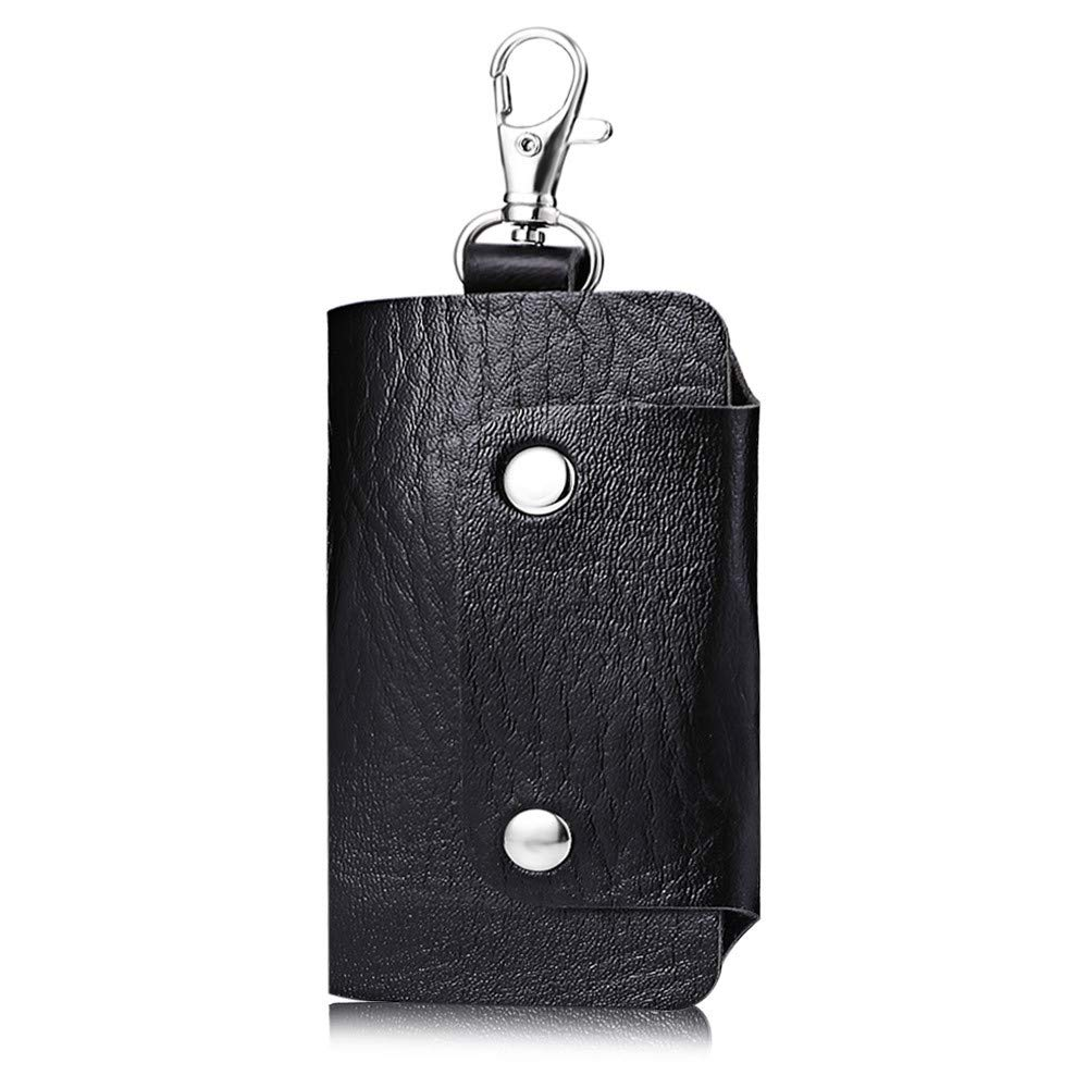Unilive Leather Key Bag Wallets with 6 Key Hooks Unisex Holder Car Keychain Case(black)