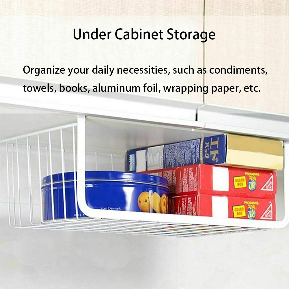 3 Pack Under Shelf Basket,Pantry Organization and Storage Baskets,16.8 x 10.3 x 4.9 in White Bookshelf Wire Hanging Baskets Shelves for Under Cabinet Storage