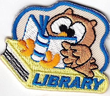 "/""LIBRARY/"" Iron On Patch Books School Reading"