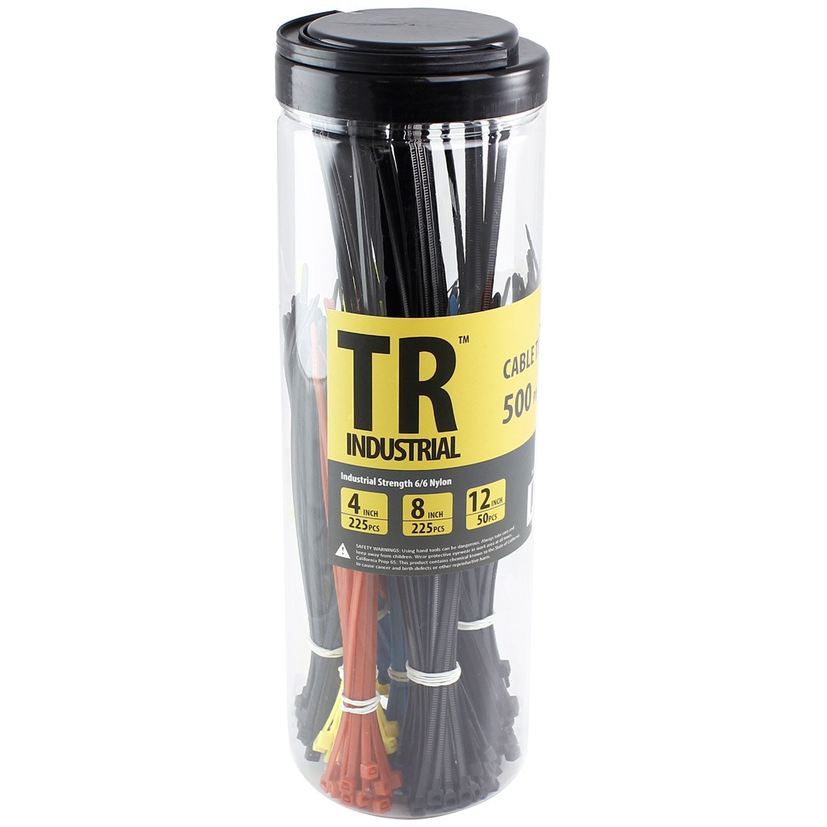 TR Industrial TR88300 Assorted Cable Ties Set (500 Piece), 7'', Black/Red/Blue/Yellow
