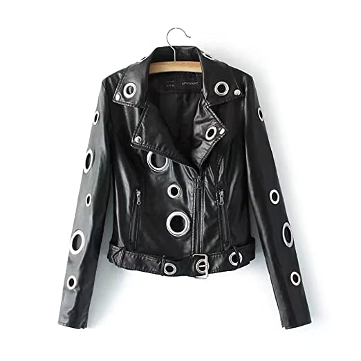 10bba12f24d 2017 autumn spring new fashion rings hole motorcycle PU faux leather coat  ladies short zipper skin jacket at Amazon Women s Coats Shop