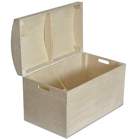 Creative Deco Grande Caja Almacenaje Juguetes Madera | 56,5 x 33 x 36,5 cm | Cofre Baul de Pirata sin Terminar y Pintar Decoupage Pintura y Decoración: ...