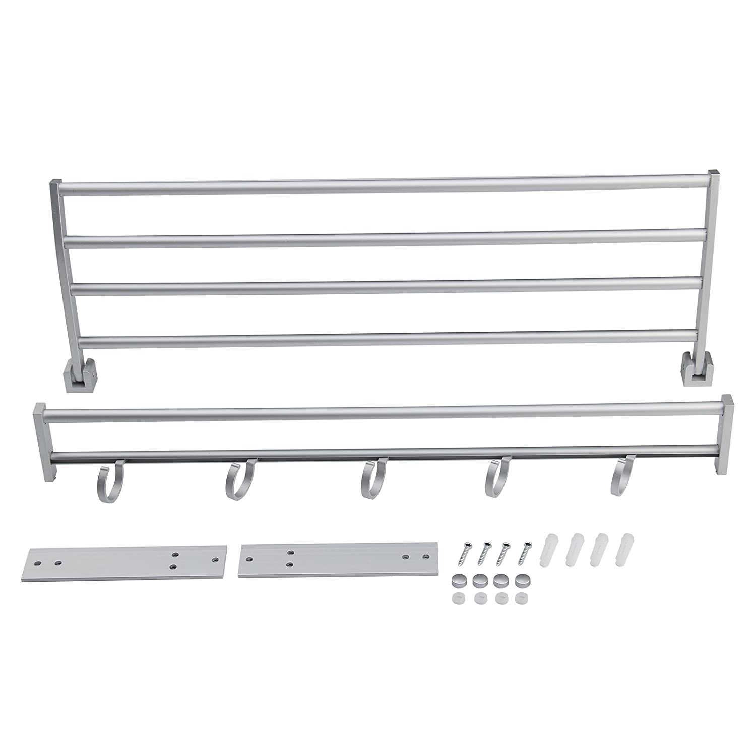 MultiWare Towel Rall Modern Double Wall Mounted Bathroom Bath Towel Rails Holder Storage Rack Shelf OEM