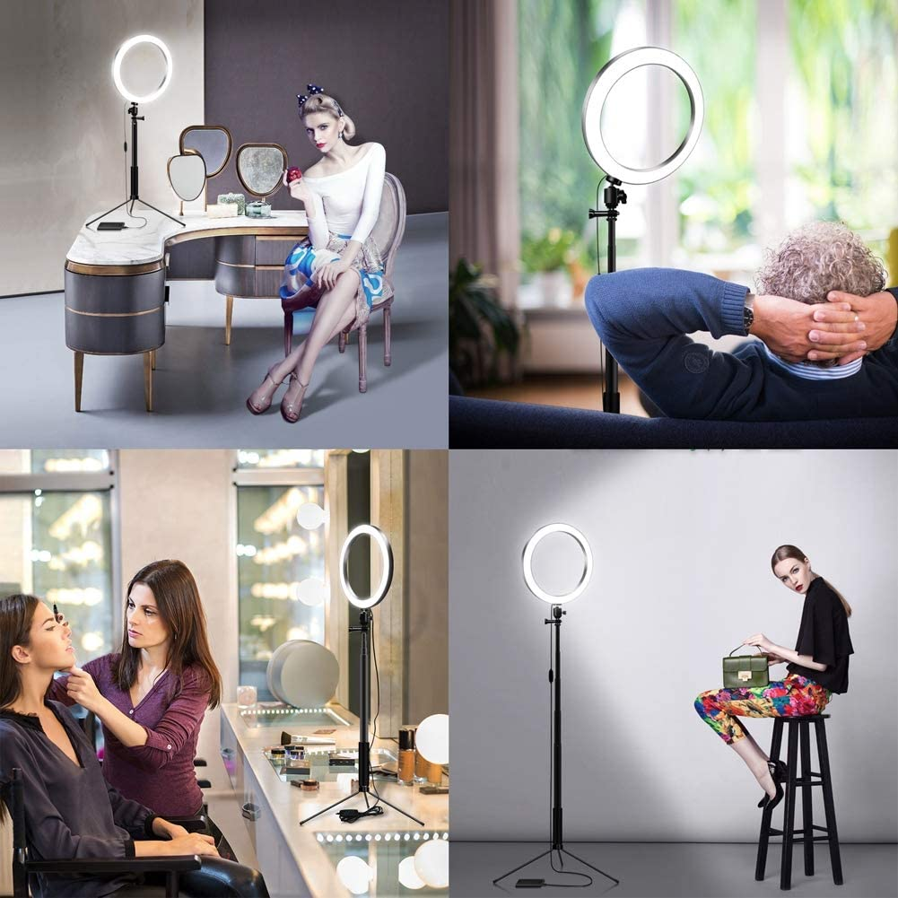 Xgxyklo LED Ring Light with Tripod Stand and Phone Holder Circle Lights Halo Lighting for Photo Photography Make Up Video,Pink,26CM