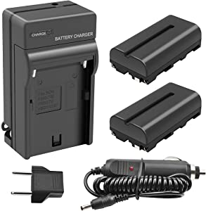 Turpow 2 Pack NP-F550 Replacement Battery and Charger Compatible with Sony NP-F330 NP-F530 NP-F570 Battery and Sony CCD-RV100 CCD-RV200 SC5 SC9 TR1 TR940 TR917 Camera CN-160 CN-216 LED Video Light