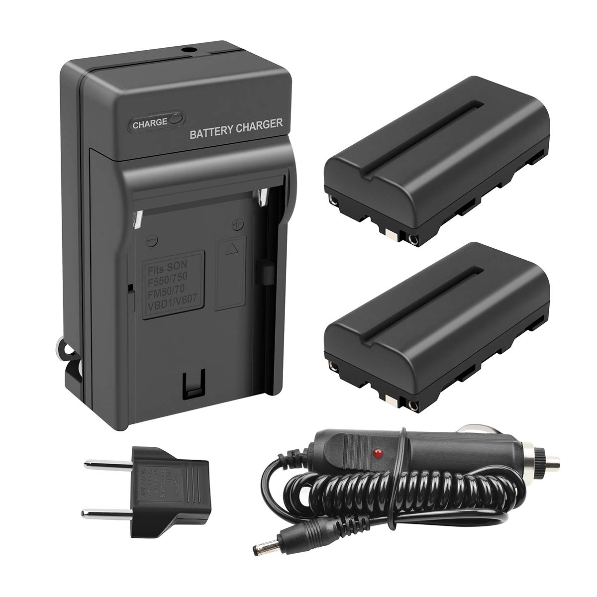 Turpow 2 Pack NP-F550 Replacement Battery and Charger Compatible with Sony NP-F330 NP-F530 NP-F570 Battery and Sony CCD-RV100 CCD-RV200 SC5 SC9 TR1 TR940 TR917 Camera CN-160 CN-216 LED Video Light by Turpow