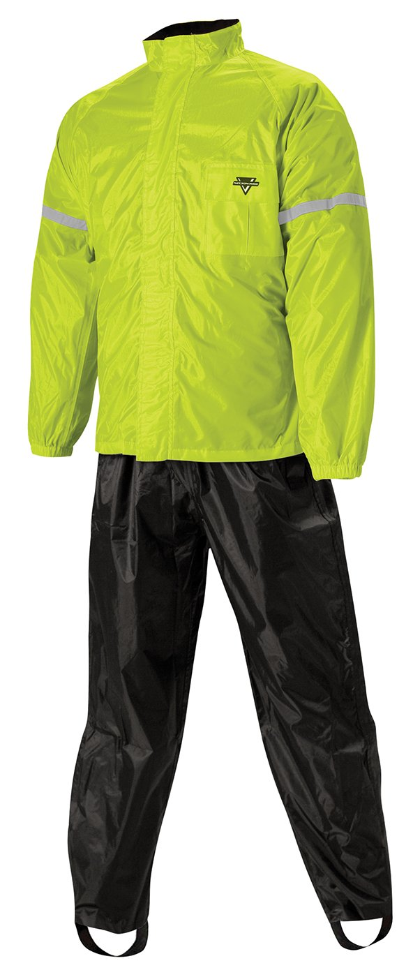 Nelson-Rigg WP-8000 Weatherpro Two-Piece Rain Suit (X-LARGE) (BLACK/HI-VIZ YELLOW)