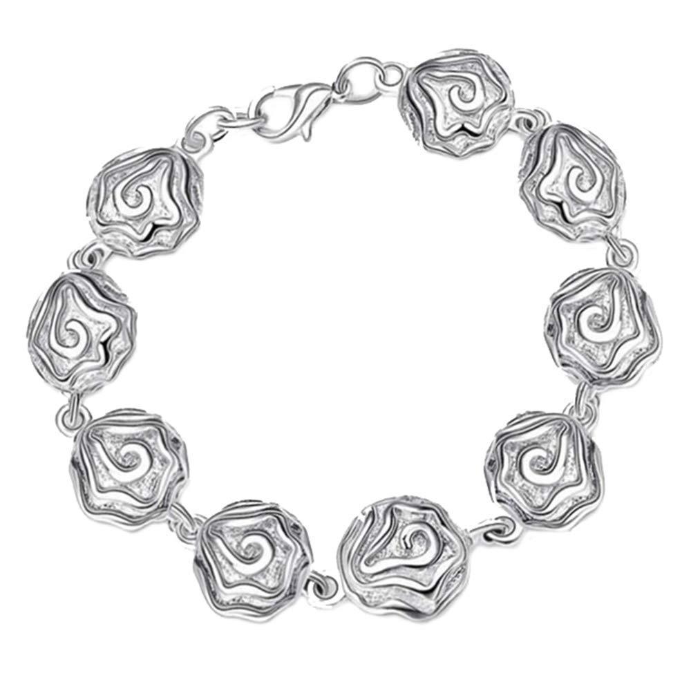 Onefeart Sterling Silver Bracelet Women Girls Mature Woman Design Rose Bracelet 19x1.3CM Silver NEWA17th164