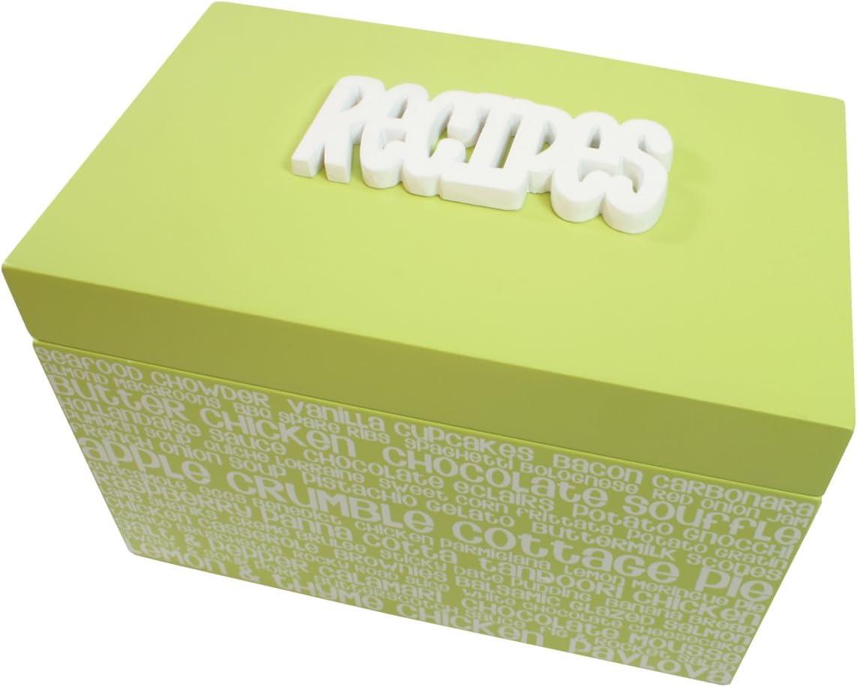 Caja organizadora de recetas color verde lima y blanco; con la palabra