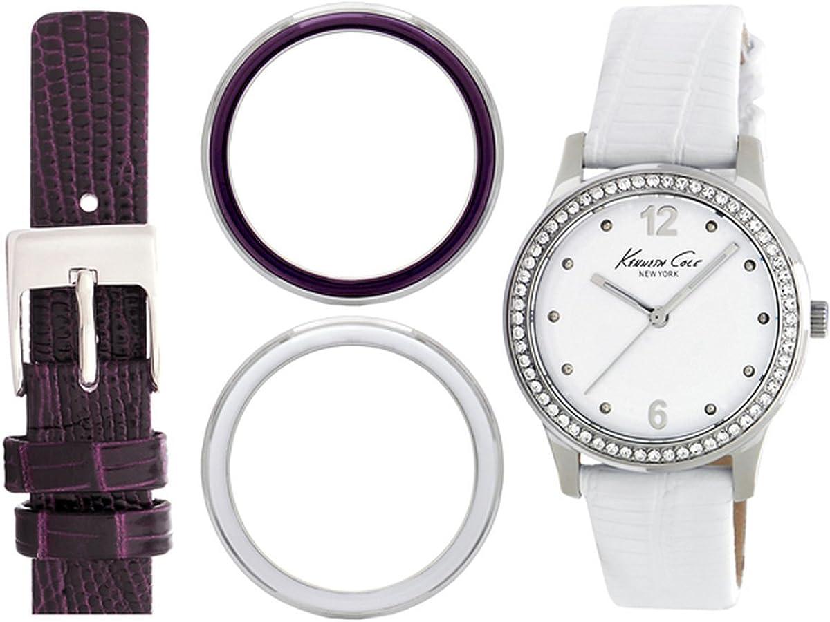Kenneth Cole New York Juego de Box KC6058Classic analógico Pantalla Color Blanco Reloj de Cuarzo japonés de la Mujer Set