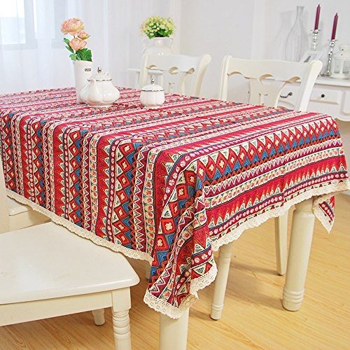 yazi Red Mediterranean Boho Style Dining Tablecloth Cotton Linen Lace Table Cover Birth Party Valentine's Day Gift