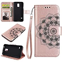 Samsung Galaxy S5 (i9600) Wallet Case, EST-EU Retro Mandala Embossing PU Leather Stand Function Protective Covers with Card Slot Holder Wallet Book Case for Galaxy S5 (i9600), Rose Gold