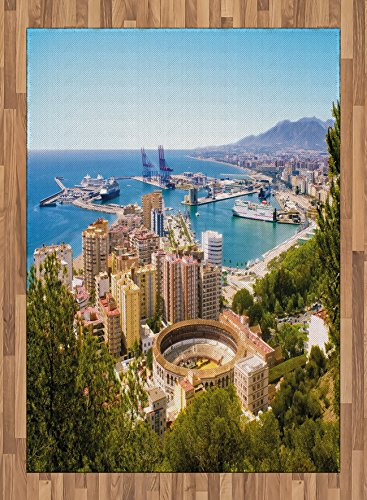Landscape Area Rug by Lunarable, Aerial View of Malaga with Bullring and Harbor Spain Traditional European City, Flat Woven Accent Rug for Living Room Bedroom Dining Room, 5.2 x 7.5 FT, Multicolor by Lunarable