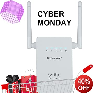 Motoraux® Wireless-N Mini Wi-Fi Range Extender with Four Modes,wifi Booster  Supports Router,AP,repeater and WISP Mode Backward Compatible with