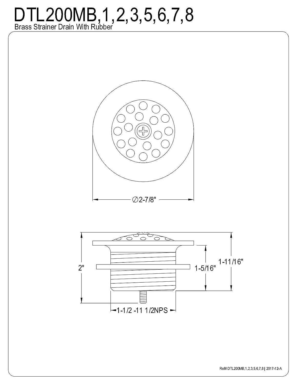 Polished Chrome Kingston Brass DTL201 Bath Tub Drain Strainer and Grid