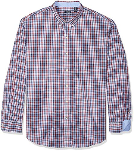 IZOD Men's Premium Performance Natural Stretch Plaid Long Sleeve Shirt (Regular and Slim Fit) -