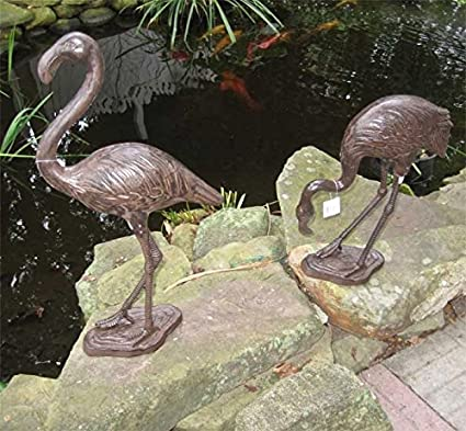 Flamingou0027s Pair  Cast Iron Garden Statues   Rust Finish