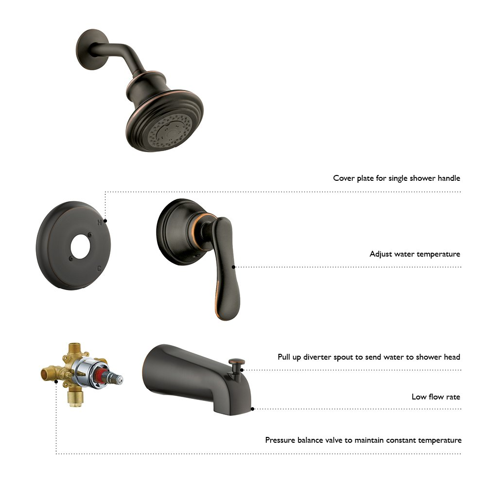 Design House 522938 Tub Diverter Spout Slip-On, Oil Rubbed Bronze Finish