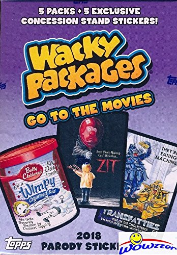 2018 Topps Wacky Packages Go to the Movies EXCLUSIVE Factory Sealed Value Box with Special BONUS PACK of (5) Concession Stand Stickers! Look for Autograph, Plates, Sketch & Parallel Cards! Wowzzer!