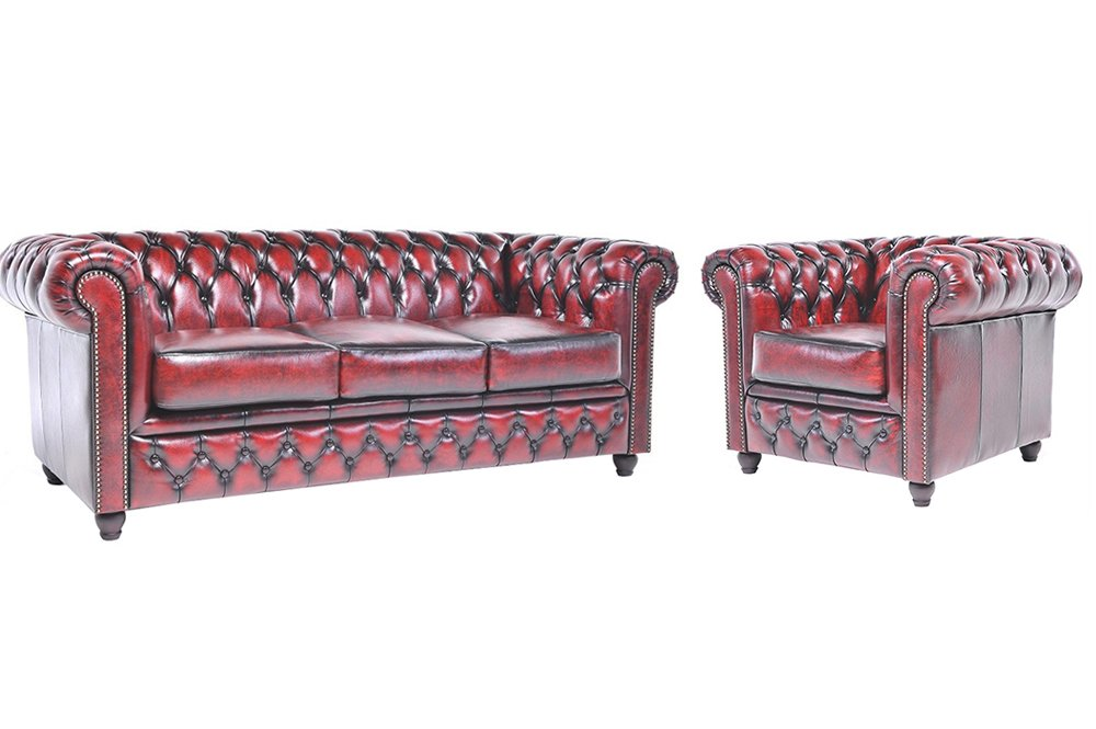 Chesterfield Showroom - Original Chesterfield Sofa / Couch - 1+3-Sitzer - Echtes Leder handgewischt - Antik-rot