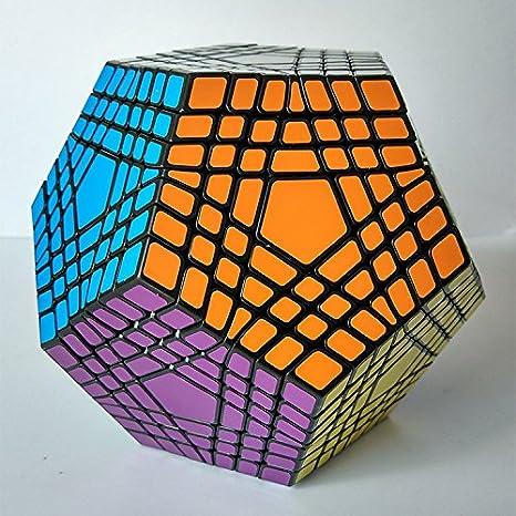 HappyToy ShengShou 7x7x12 Megaminx Gigaminx 7 couches dod/éca/èdre Douze visages Cubes magiques Cubes de vitesse Puzzle Cube One Cube Stand Noir