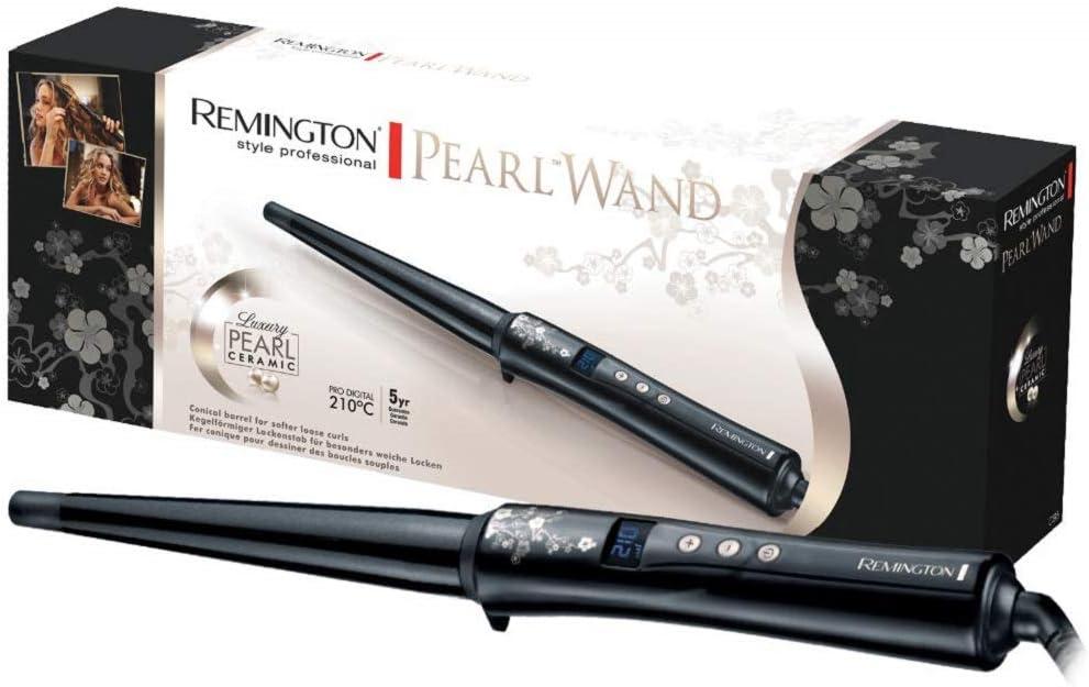Remington Conique Pearl CI95 - Rizador de pelo, Cerámica con Perla, Punta Fría, Digital, Negro